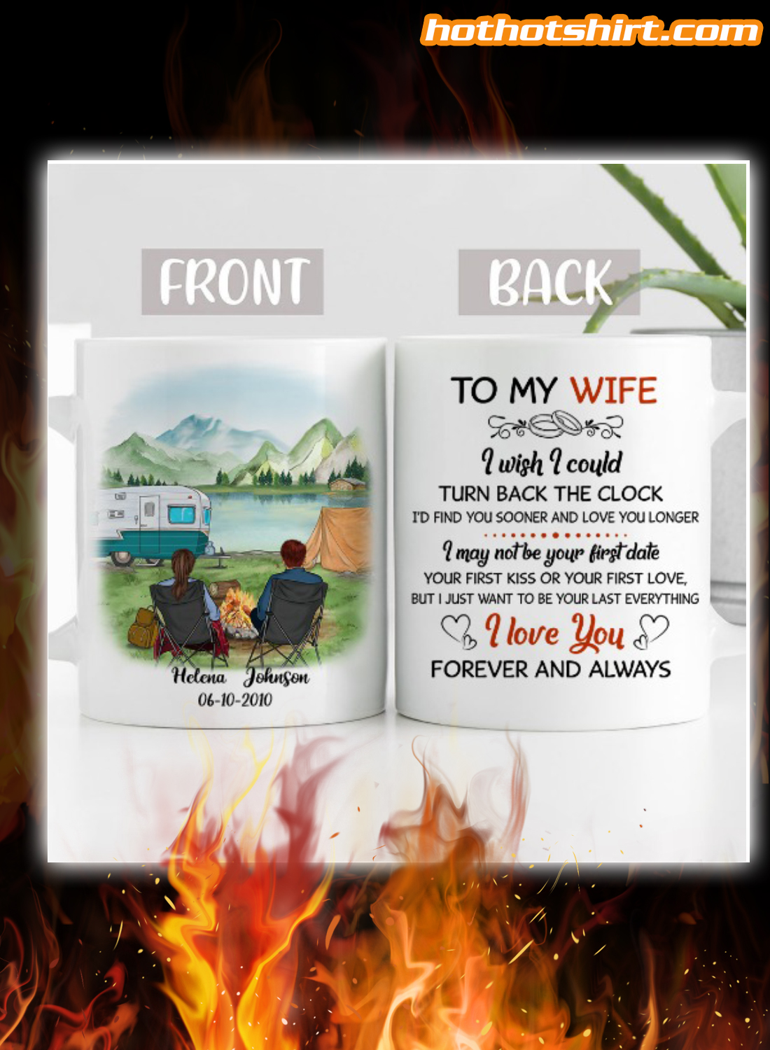 Personalized Camping to my wife i wish i could turn back the clock mug
