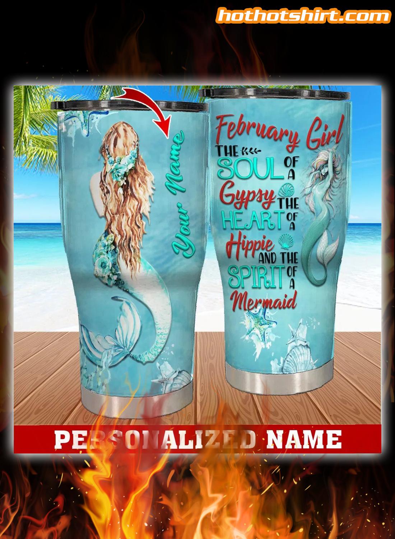 Personalized Custom Name February Girl Mermaid Tumbler 1