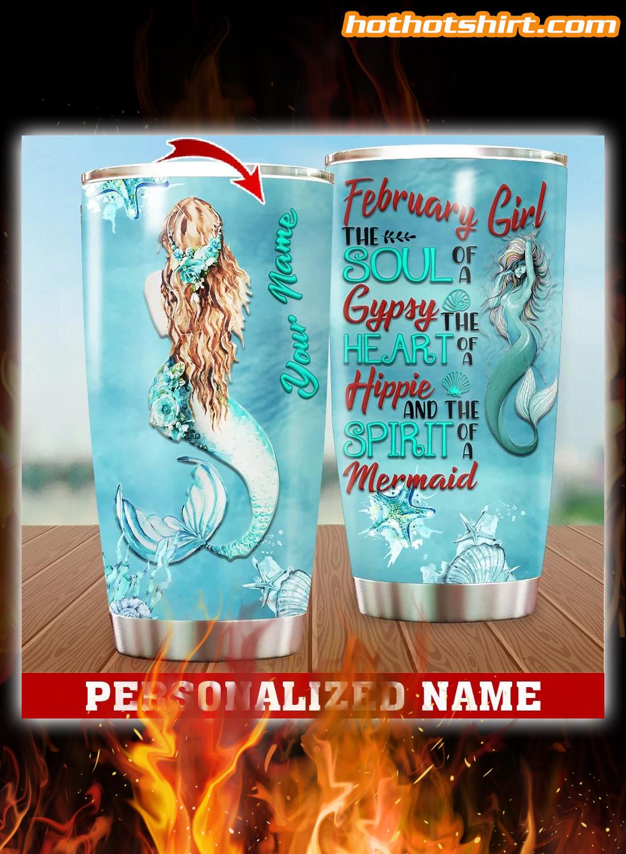 Personalized Custom Name February Girl Mermaid Tumbler