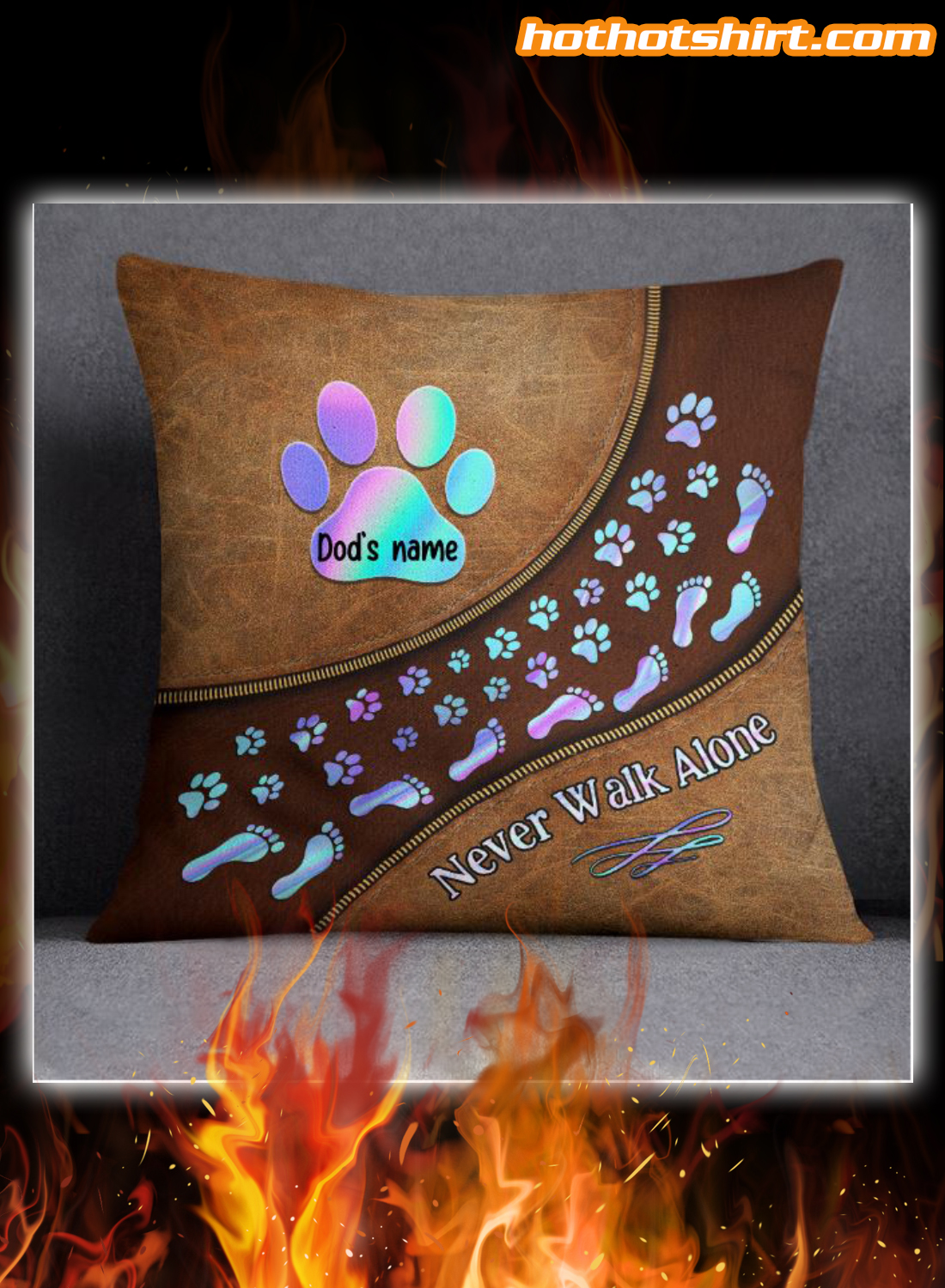 Personalized Dog Paw Never Walk Alone Pillow