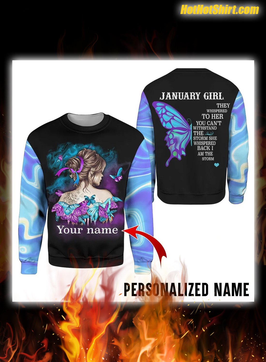 Personalized Custom Name Butterfly January Girl 3D Hoodie