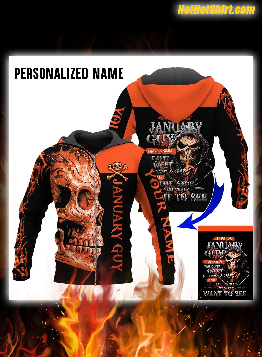 Personalized Name Skull I'm January Guy I Have 3 Sides Hoodie