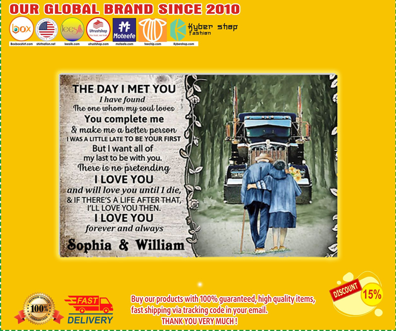 Personalized Truck The day I met you I custom name poster - LIMITED EDITION BBS