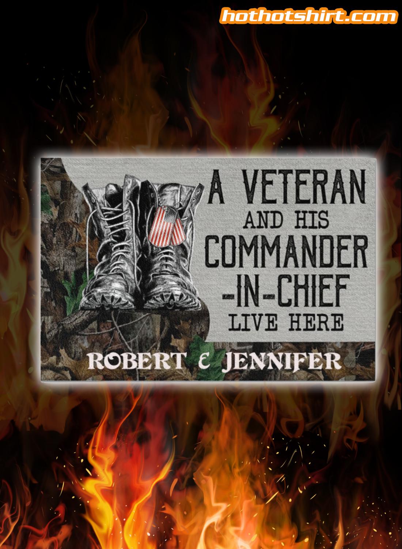 Personalized Veteran Couple Live Here Doormat