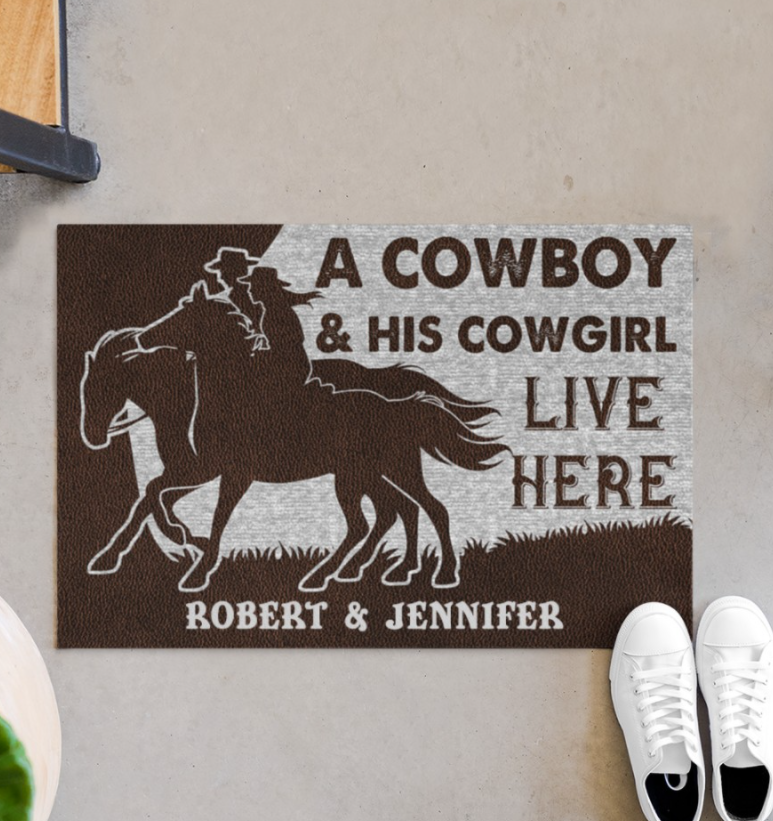 Personalized A Cowboy And His Cowgirl Live Here Doormat