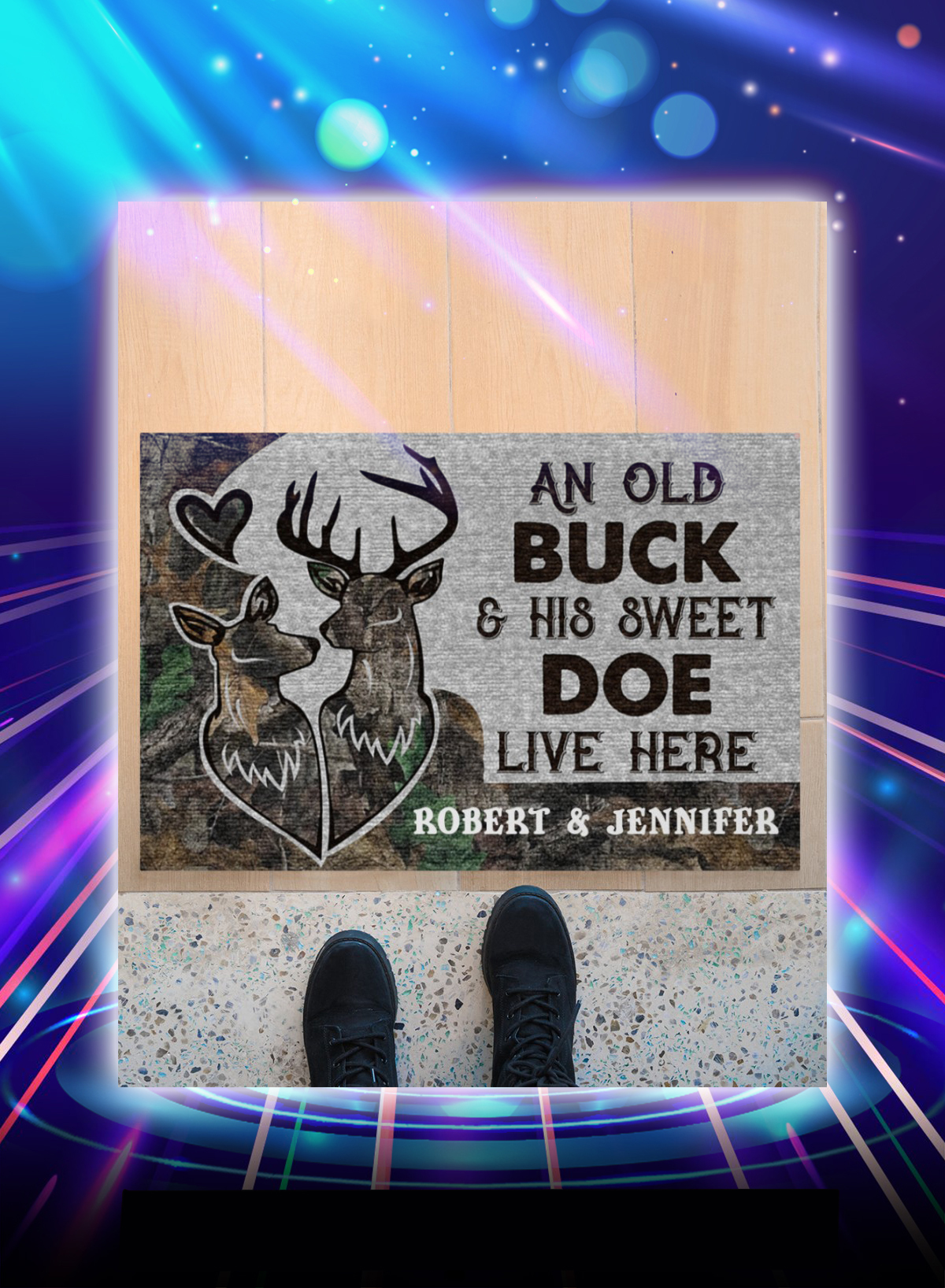 Personalized custom name An old buck and his sweet doe live here doormat - Picture 1