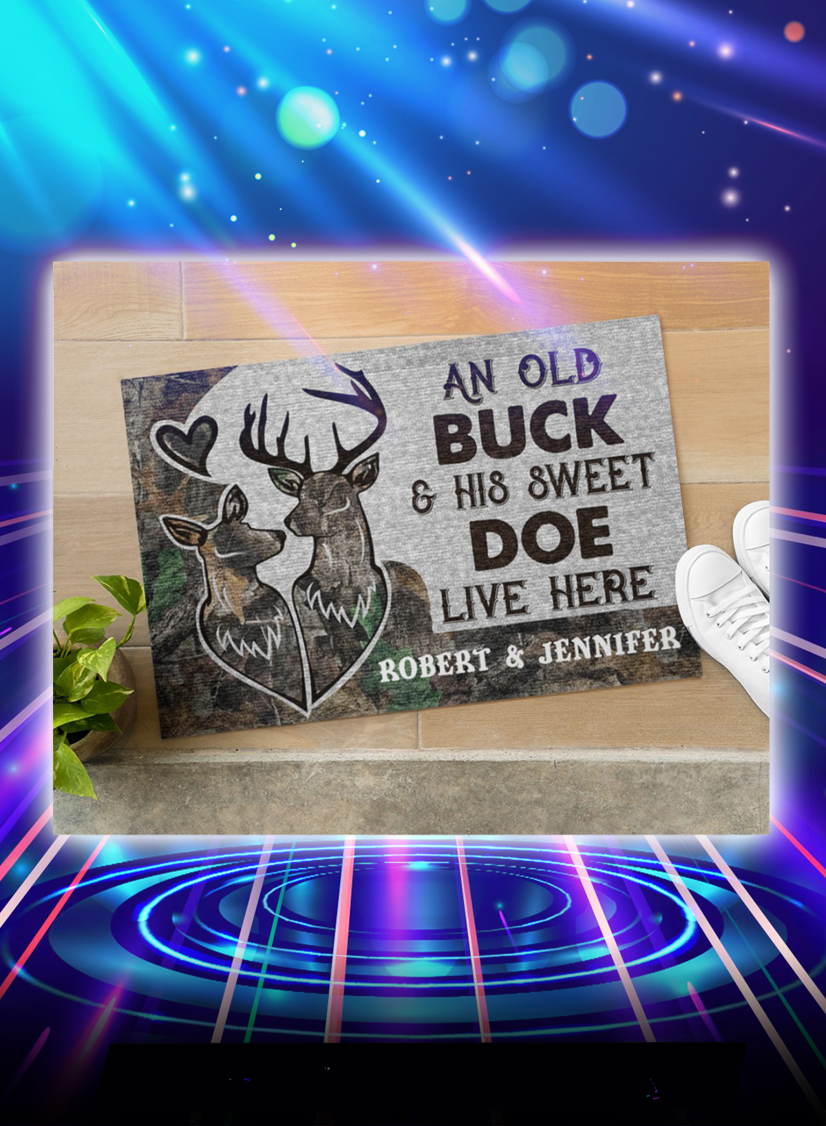 Personalized custom name An old buck and his sweet doe live here doormat