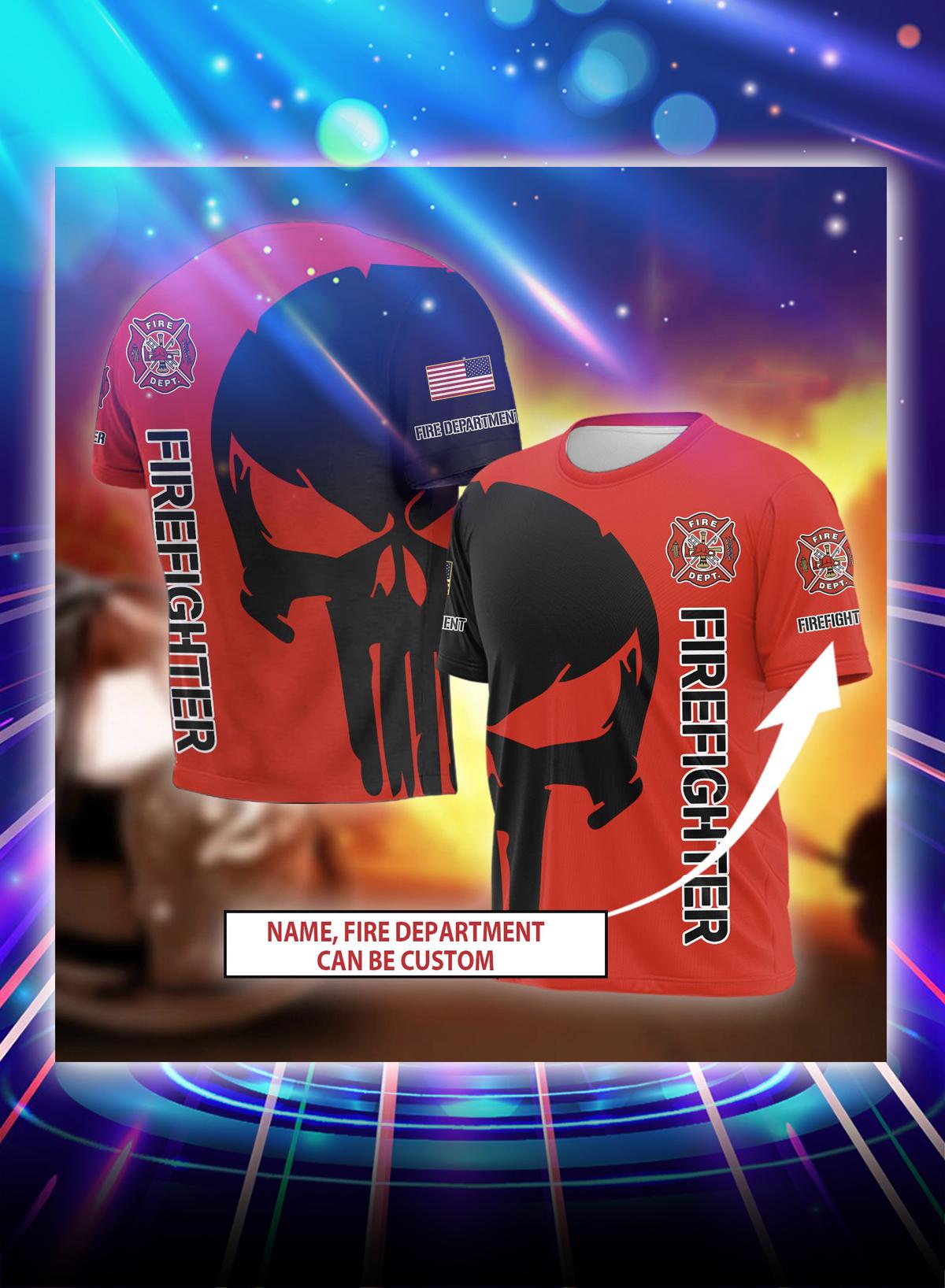 Punisher skull firefighter personalized custom name 3d shirt