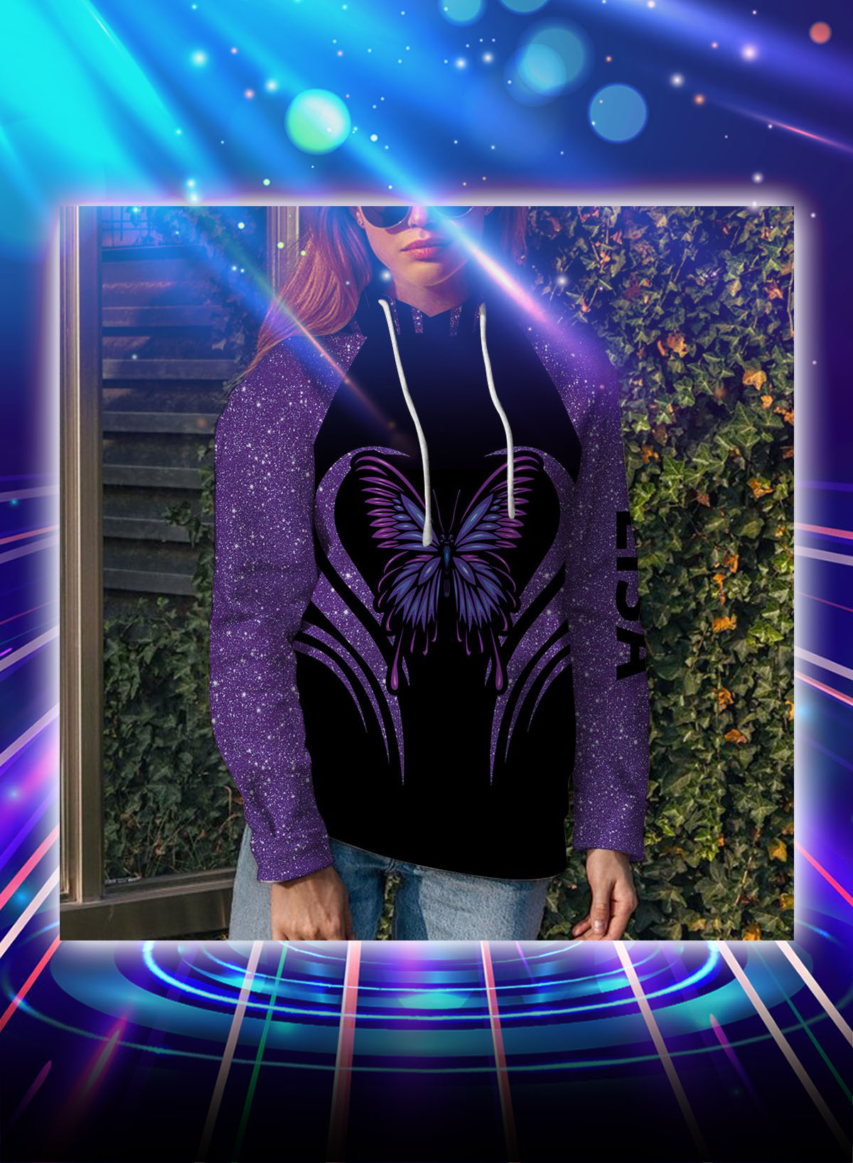 Purple butterfly personalized custom name all over print hoodie - Picture 1