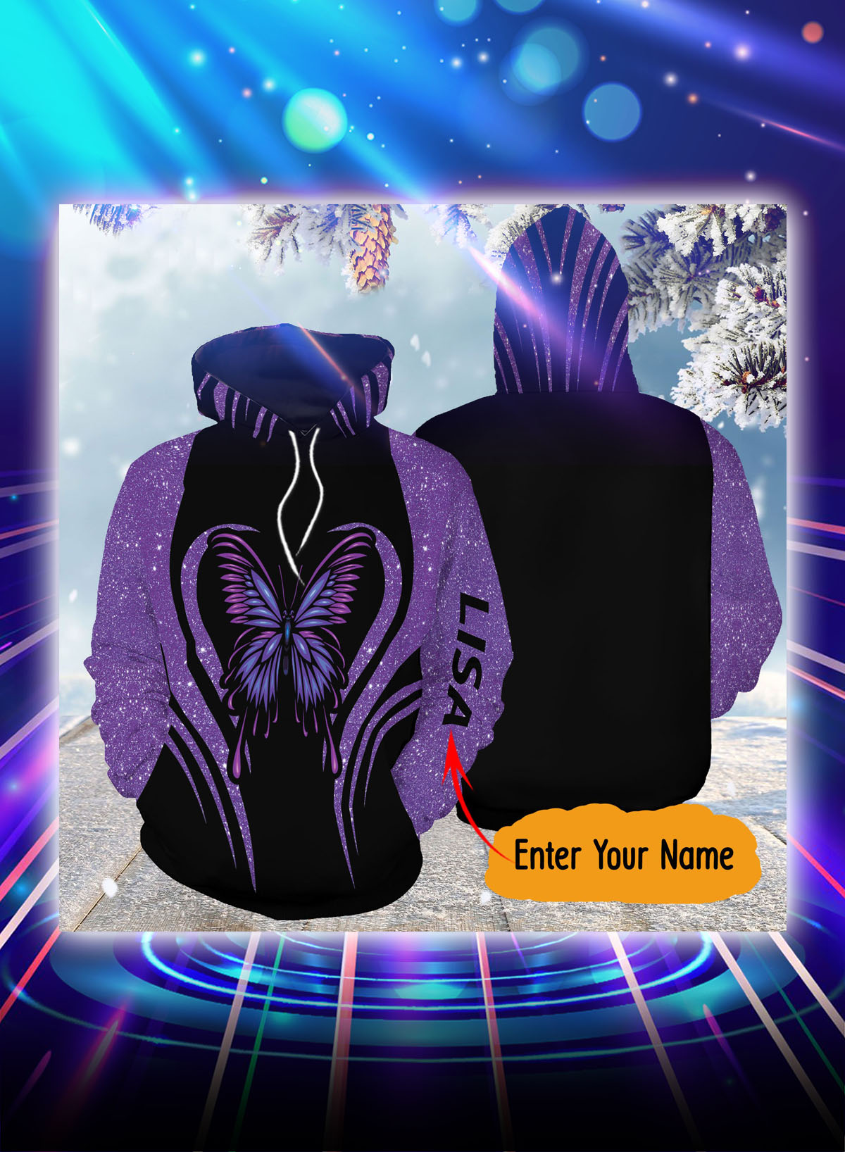 Purple butterfly personalized custom name all over print hoodie