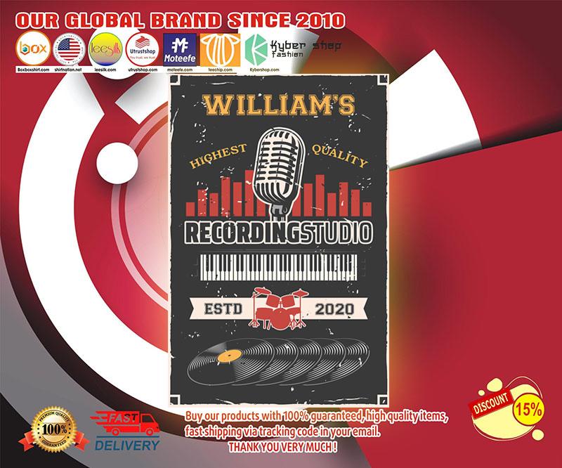 Recording studio highest quality custom name poster