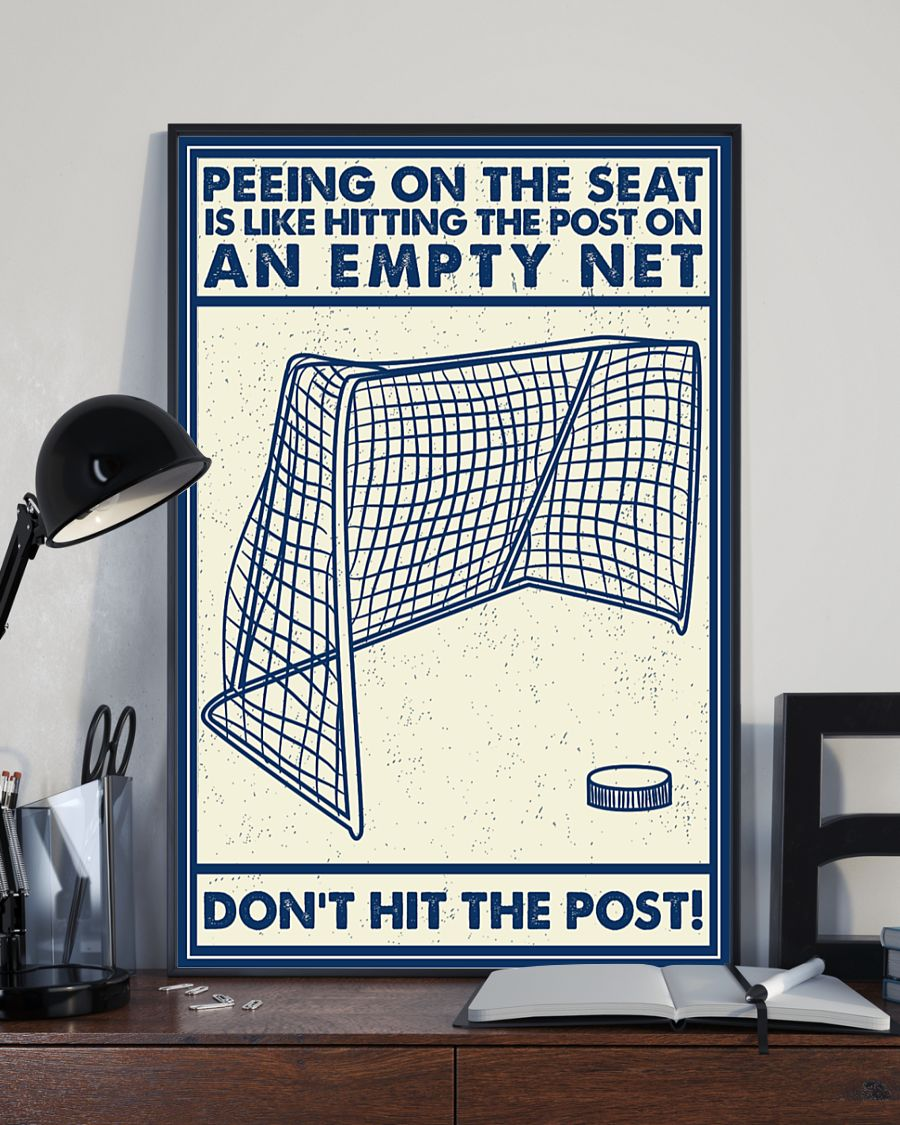 Retro hockey peeing on the seat an empty net poster