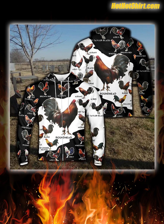 Rooster breeds all over print hoodie and zip hoodie