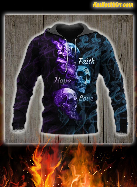 Skull Art Faith Hope Love 3D Hoodie