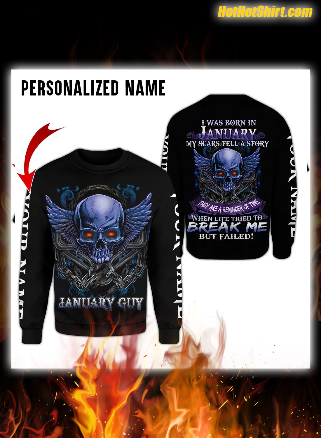 Skull I Was Born In January My Scars Tell A Story 3D Hoodie