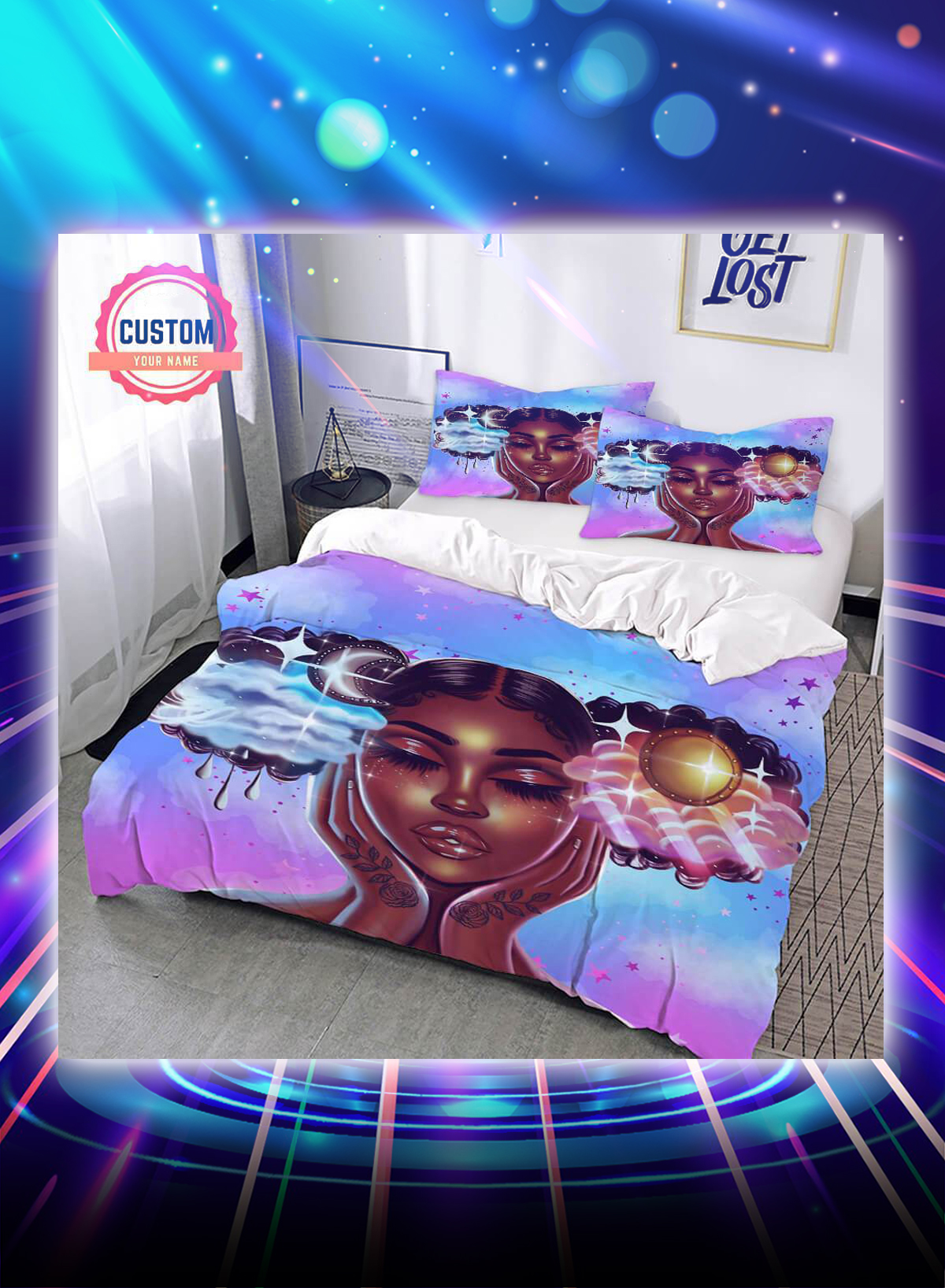 Sun and moon beautiful black girl personalized custom name bed set - Picture 1