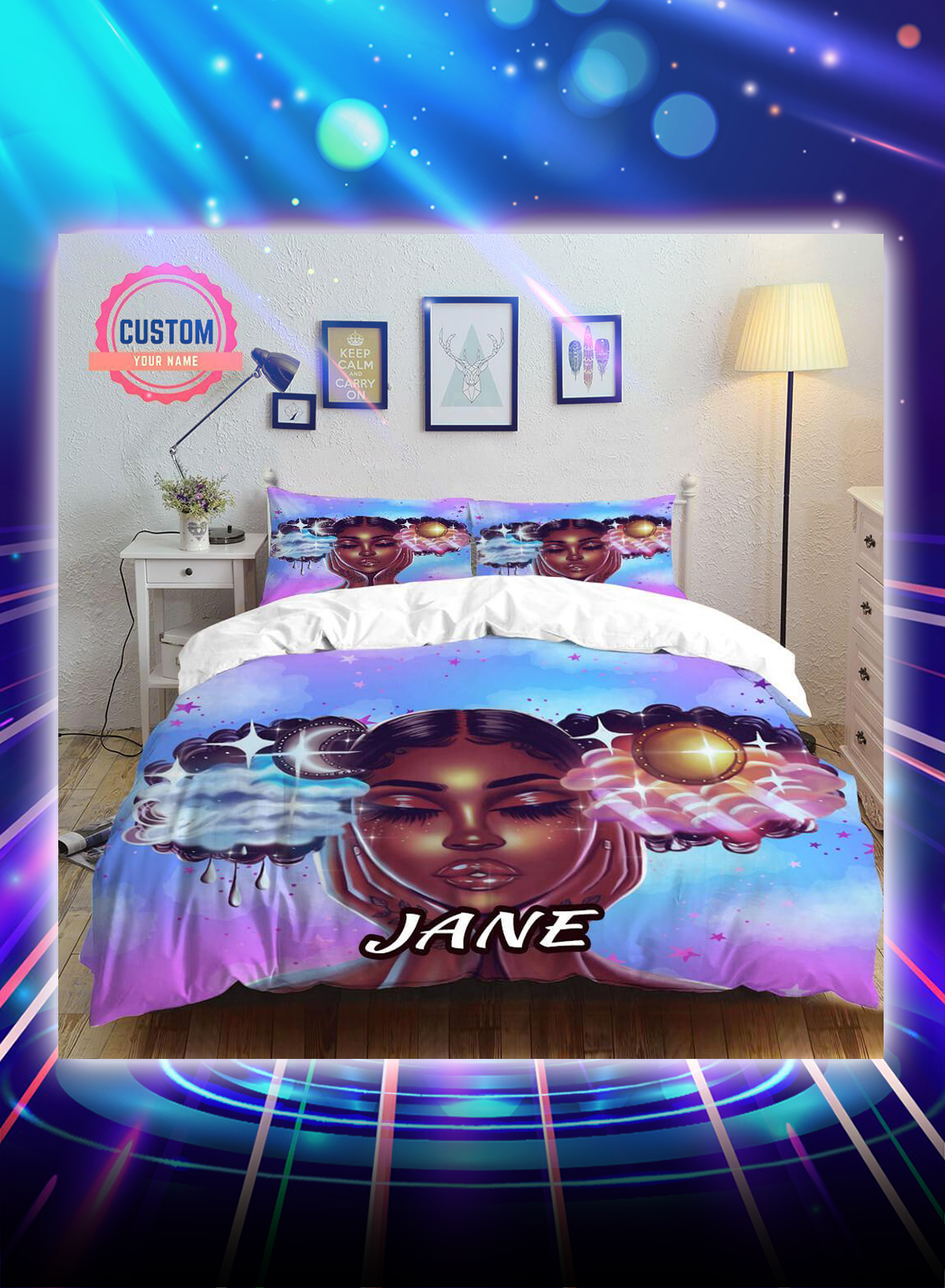 Sun and moon beautiful black girl personalized custom name bed set