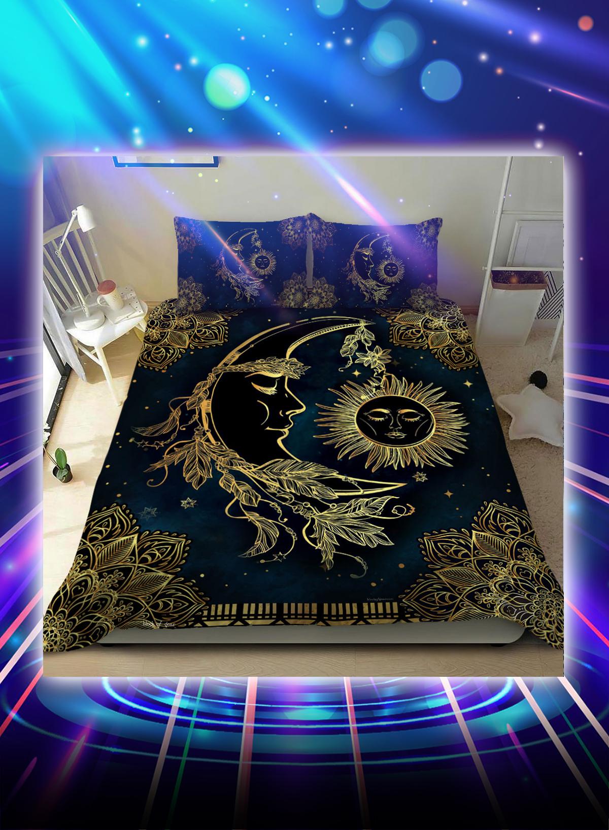 Sun and moon mandala bed set