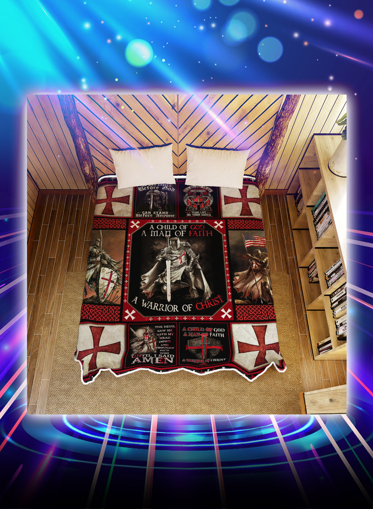 The knights templar a warrior of christ quilt blanket - Picture 1