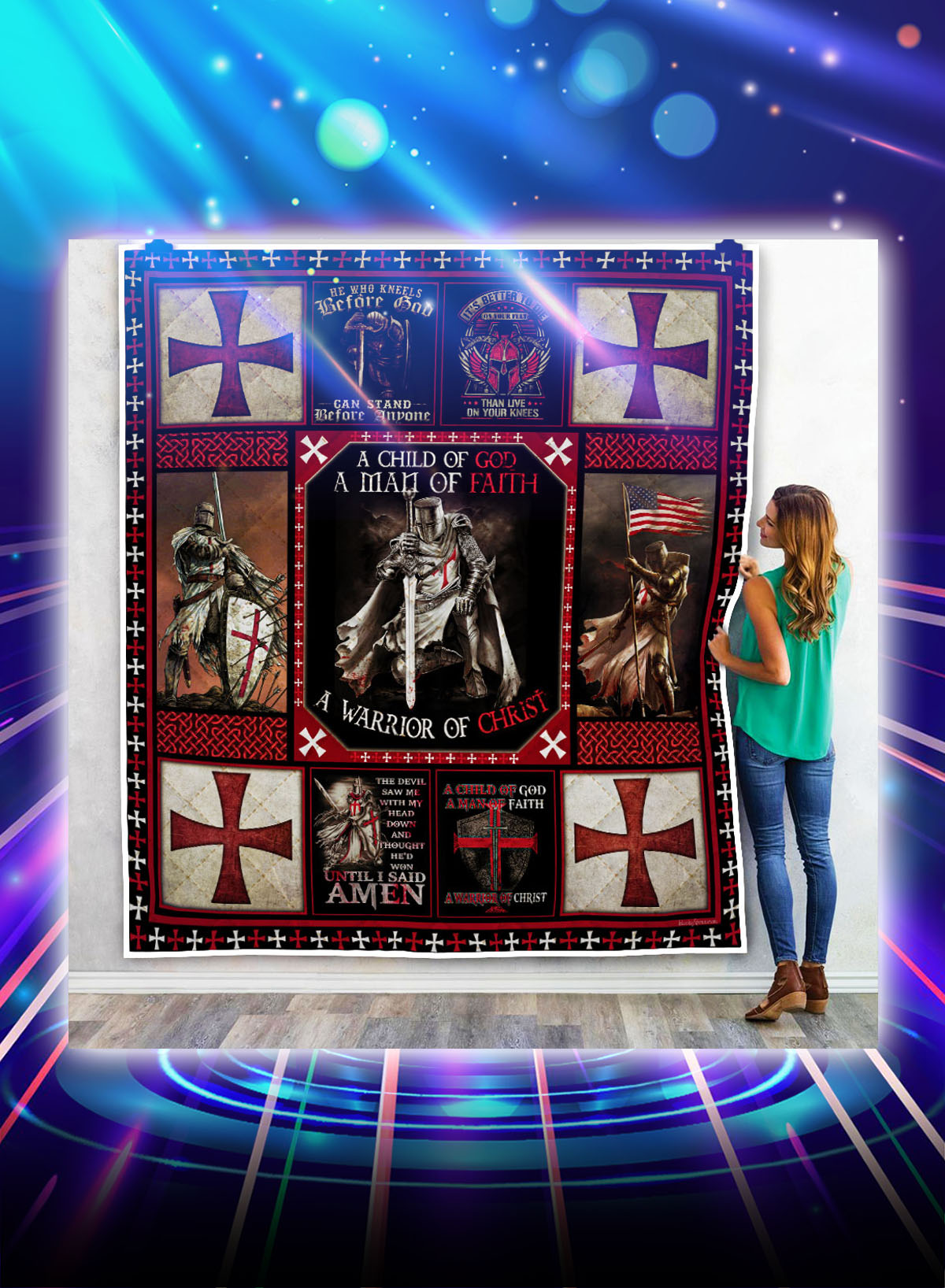 The knights templar a warrior of christ quilt blanket