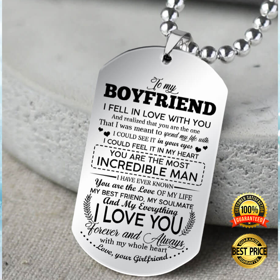 To My Boyfriend I Fell In Love With You Dog Tag 6