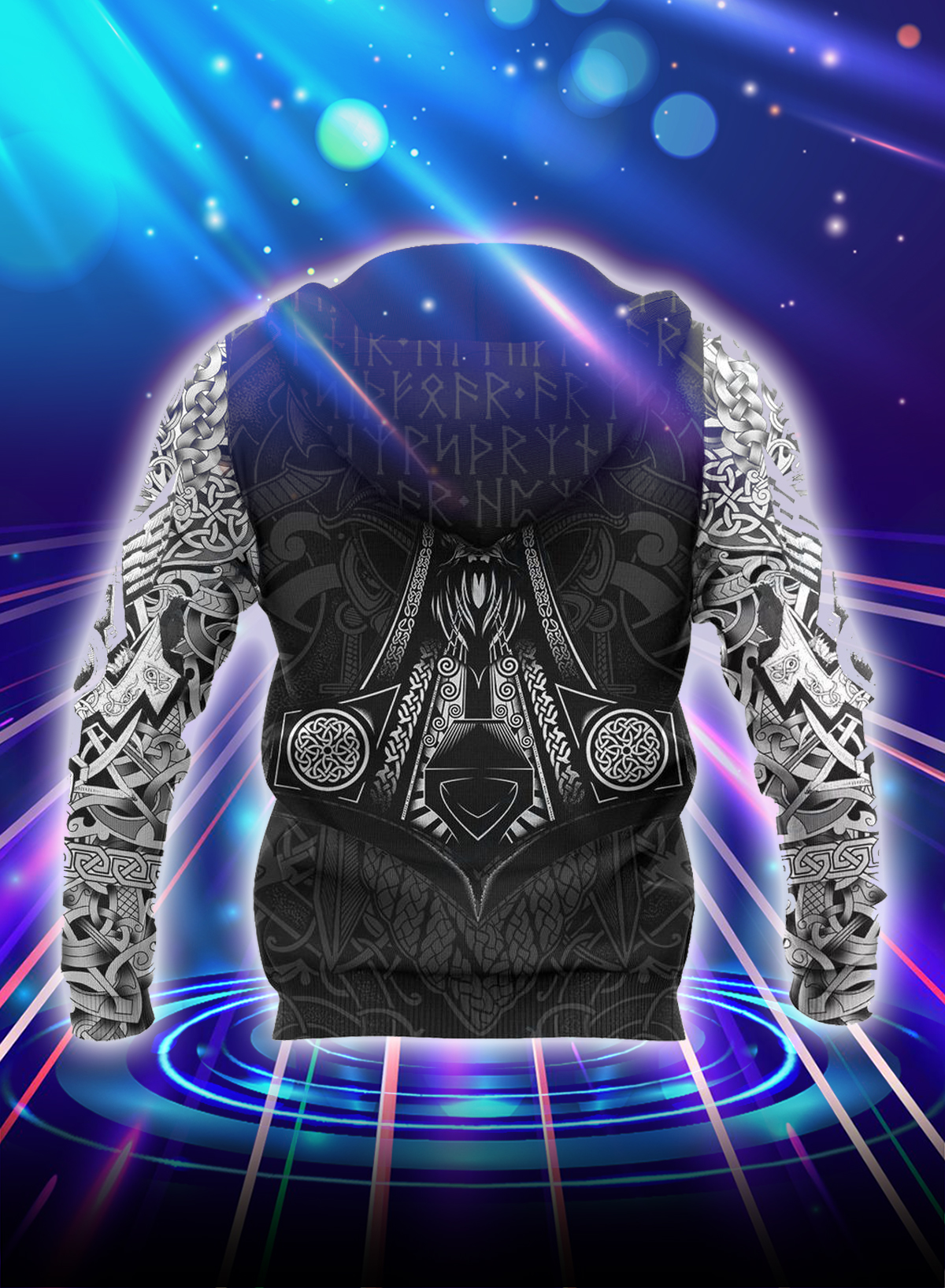 Vikings odin tattoo style all over printed hoodie - Back
