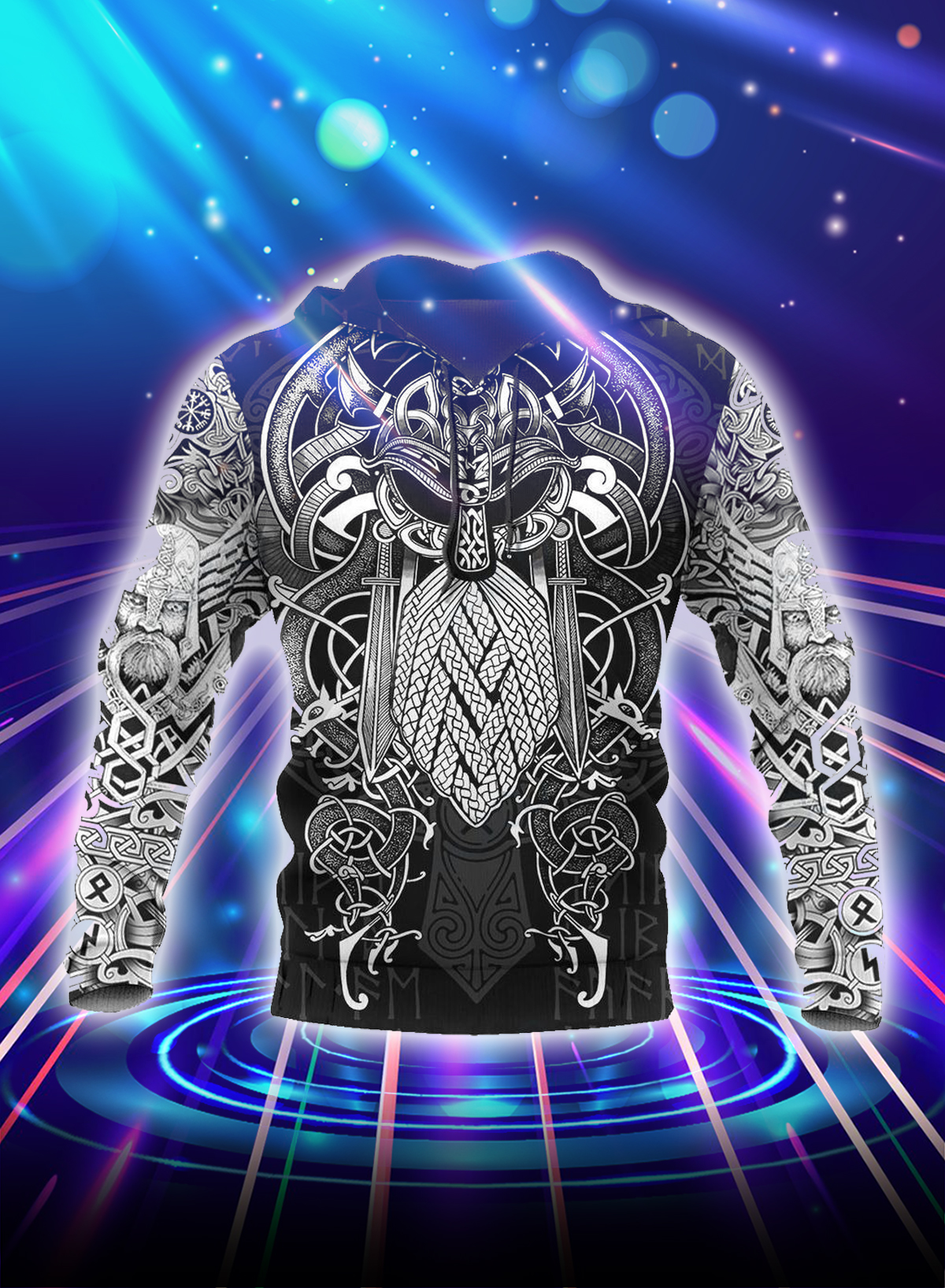 Vikings odin tattoo style all over printed hoodie
