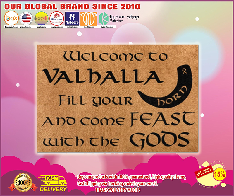 Vikings welcome to valhalla fill your horn doormat - LIMITED EDITION BBS