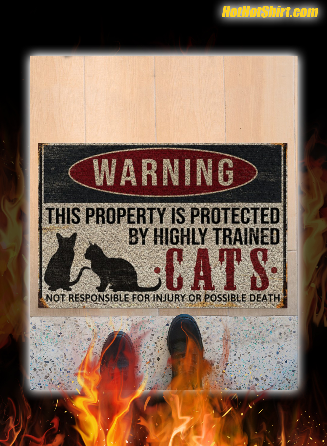 Warning This Property Is Proteced By Highly Trained Cats Doormat 1