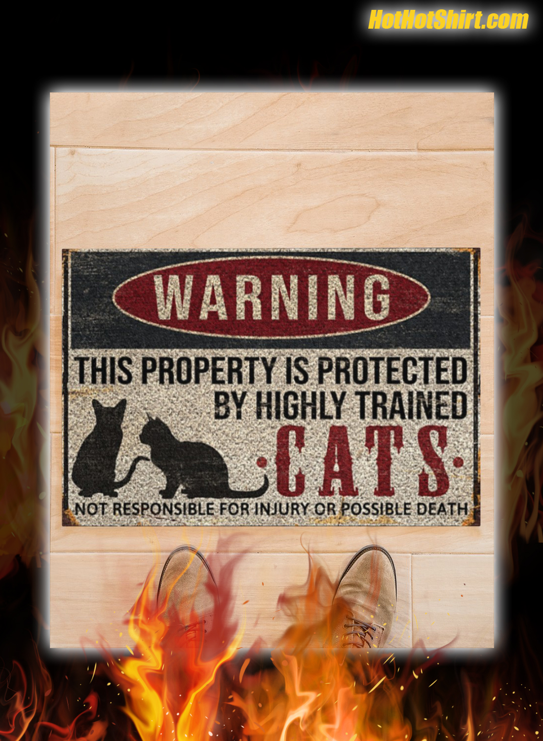 Warning This Property Is Proteced By Highly Trained Cats Doormat 3