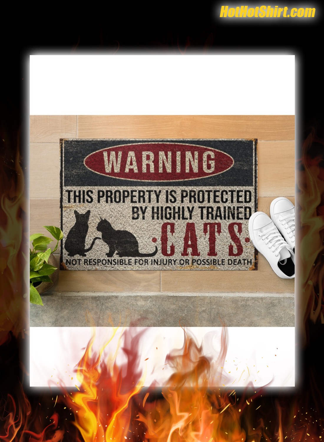 Warning This Property Is Proteced By Highly Trained Cats Doormat