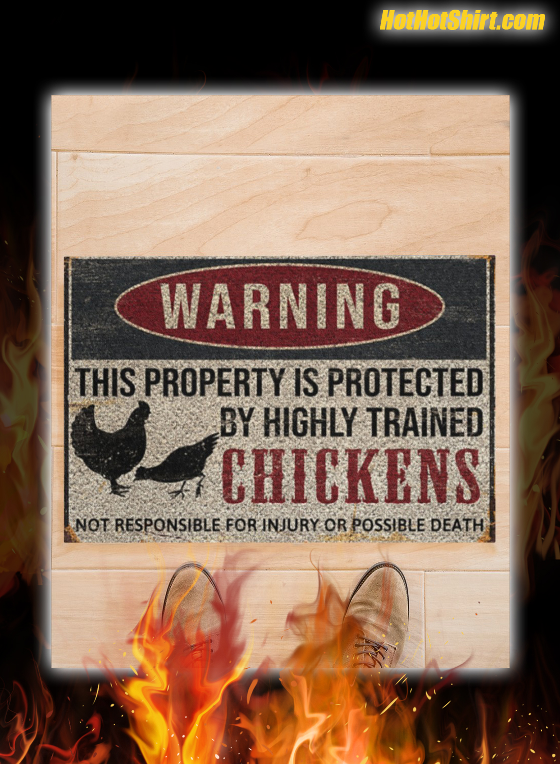 Warning This Property Is Proteced By Highly Trained Chickens Doormat 1