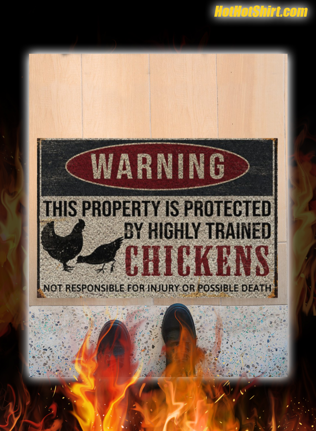 Warning This Property Is Proteced By Highly Trained Chickens Doormat 3