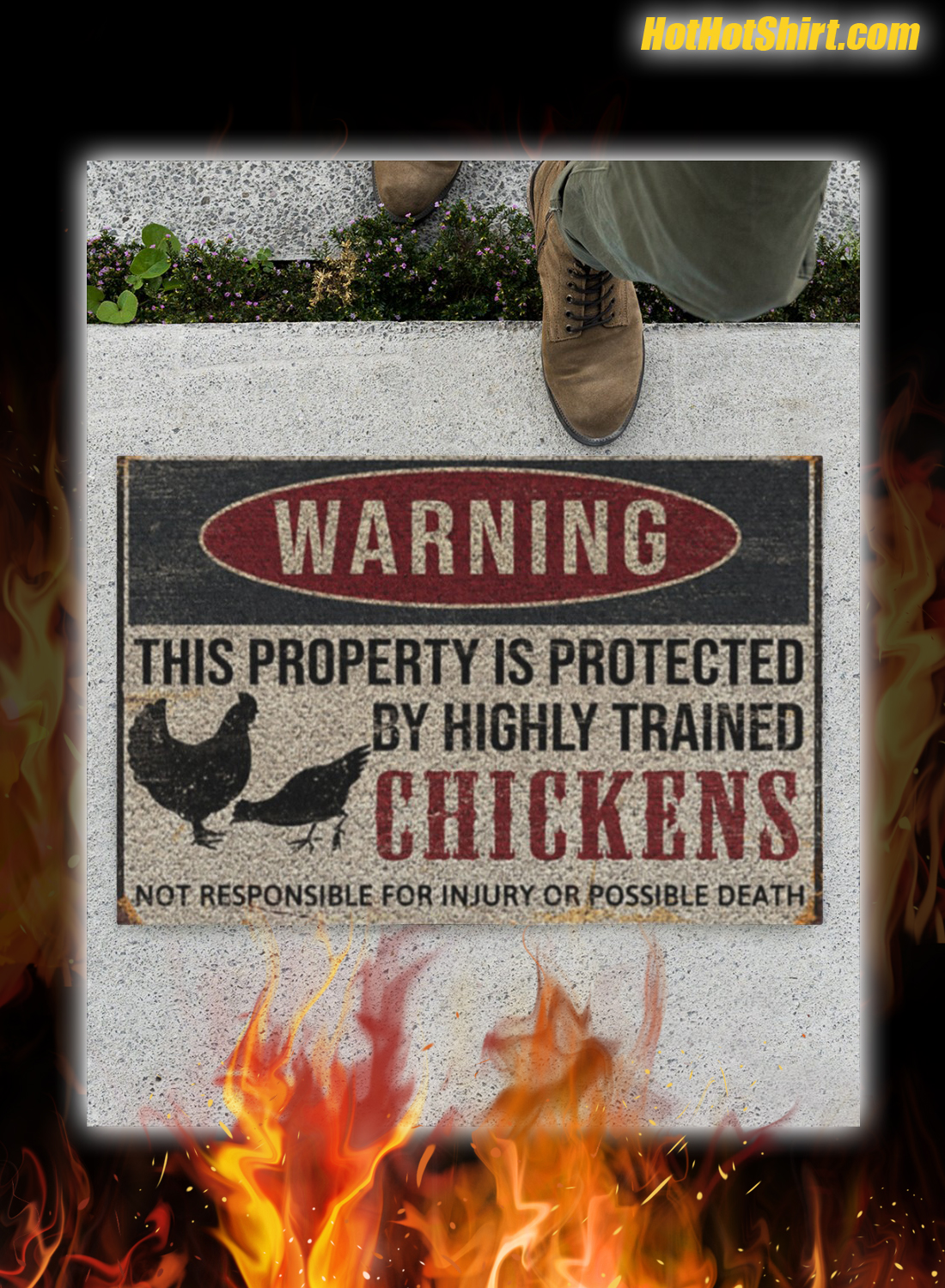 Warning This Property Is Proteced By Highly Trained Chickens Doormat