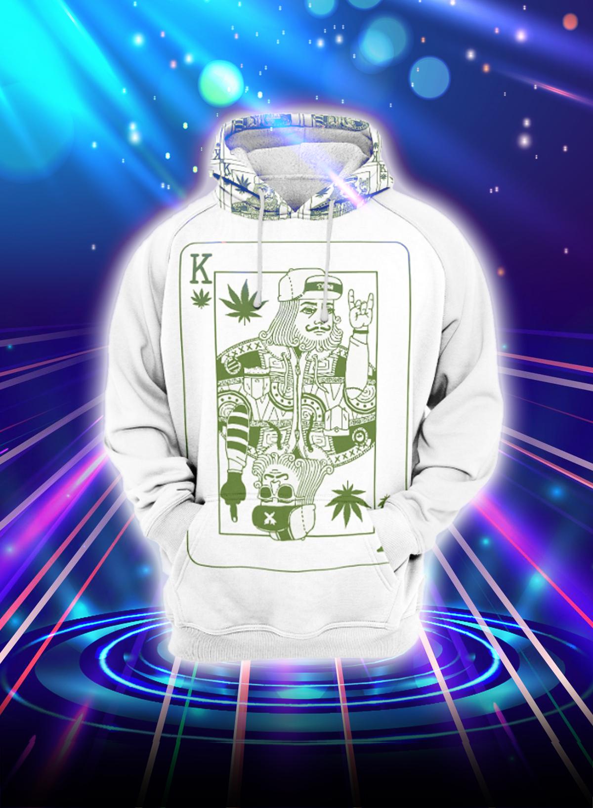 Weed cannabis badass kings all over printed hoodie