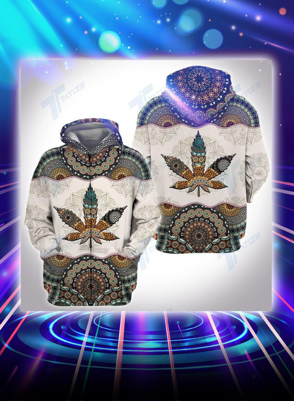 Weed mandala all over printed zip hoodie