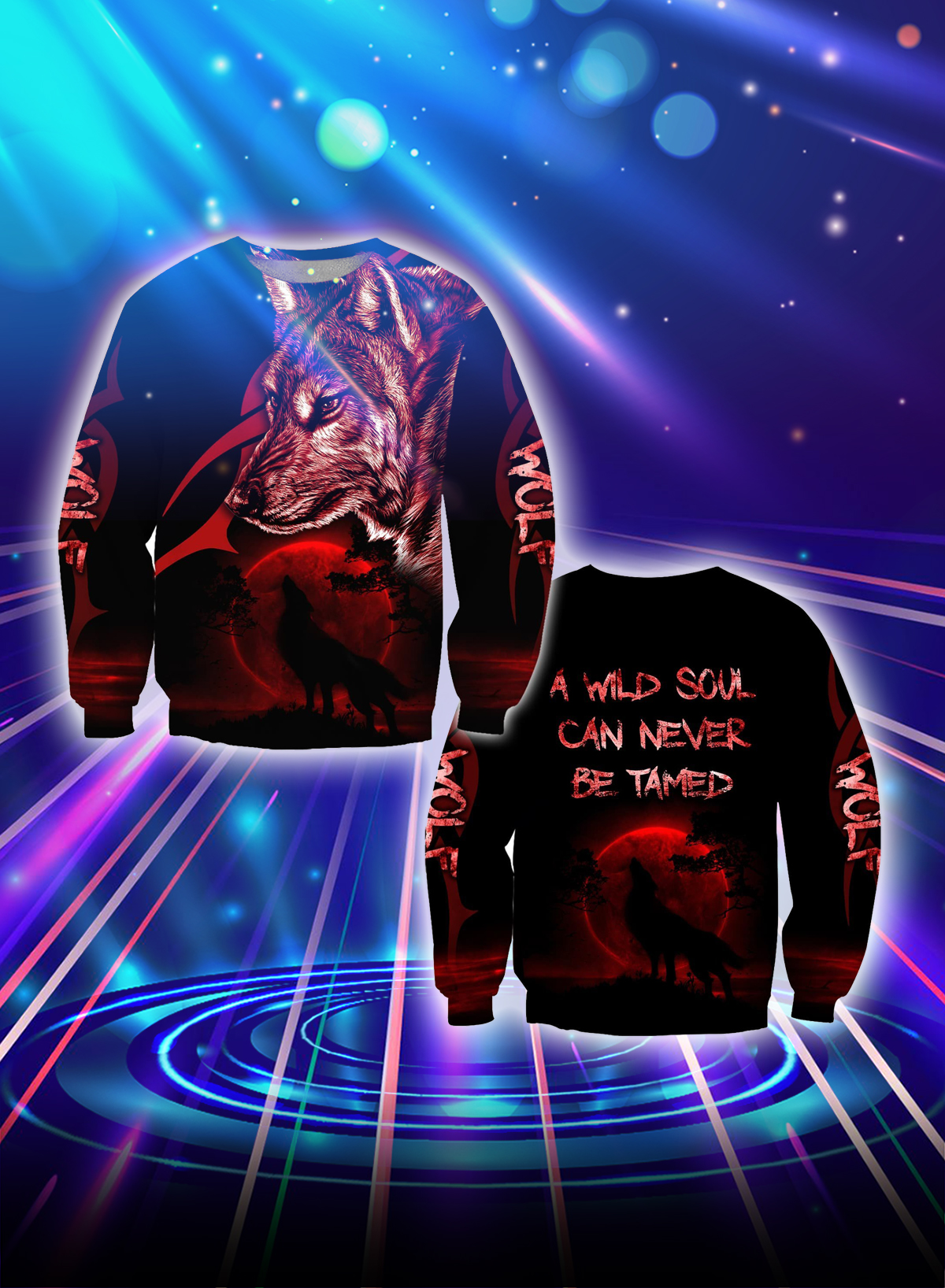 Wolf a wild soul can never be tamed all over printed sweatshirt
