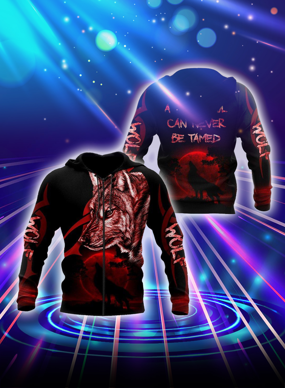 Wolf a wild soul can never be tamed all over printed zip hoodie