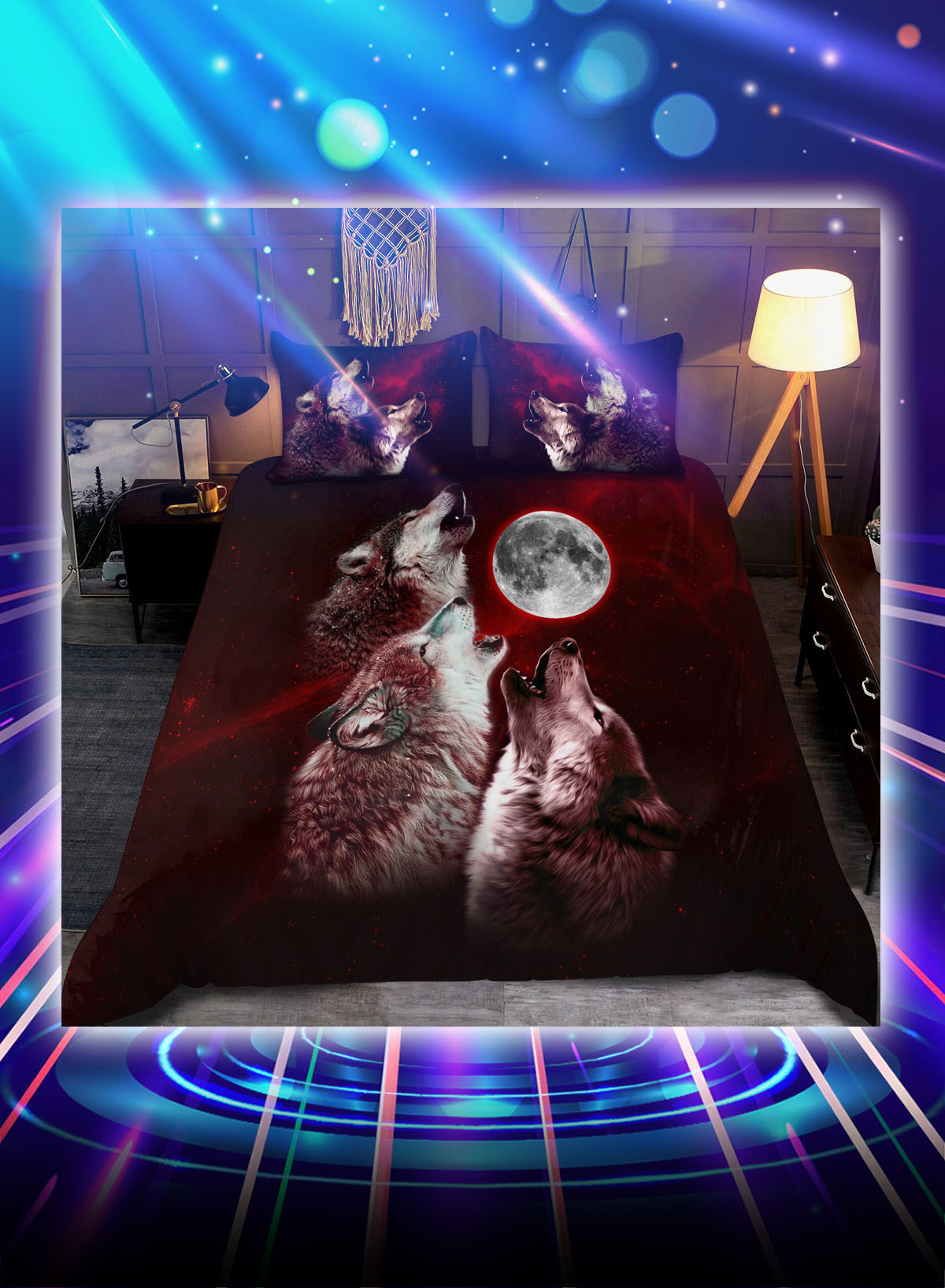 Wolf red moon all over printed bedding set - Picture 1