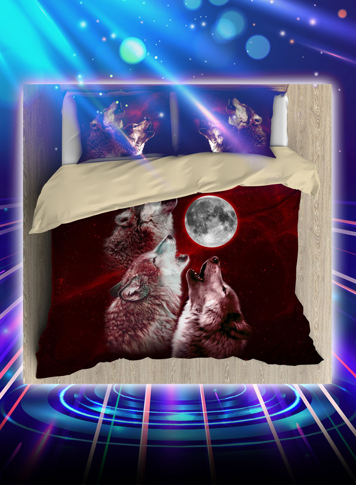 Wolf red moon all over printed bedding set
