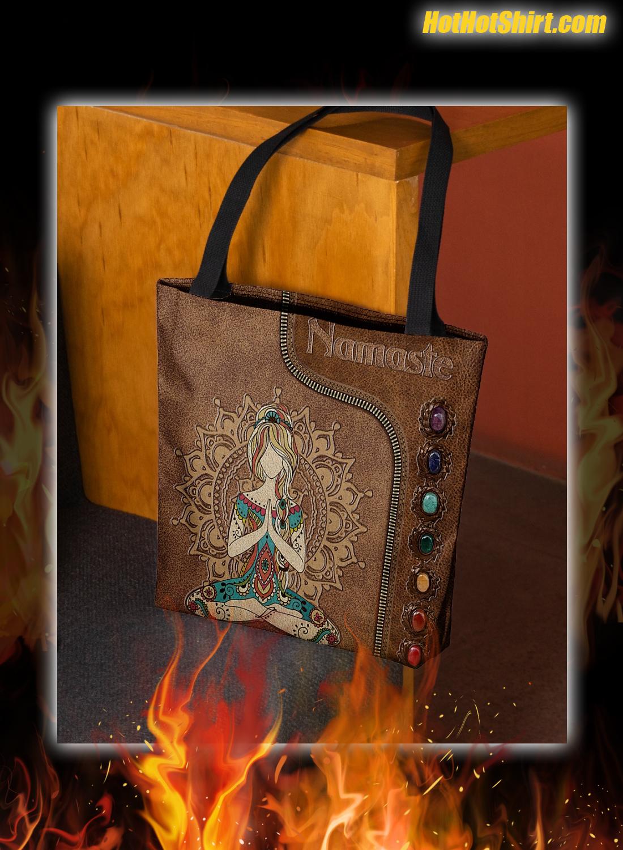 Yoga Girl Namaste Leather Tote Bag 1