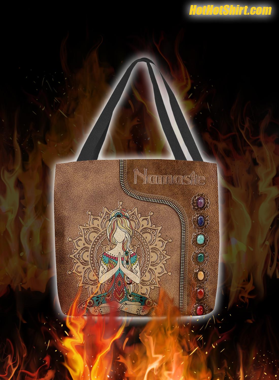 Yoga Girl Namaste Leather Tote Bag 2