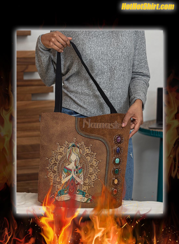 Yoga Girl Namaste Leather Tote Bag