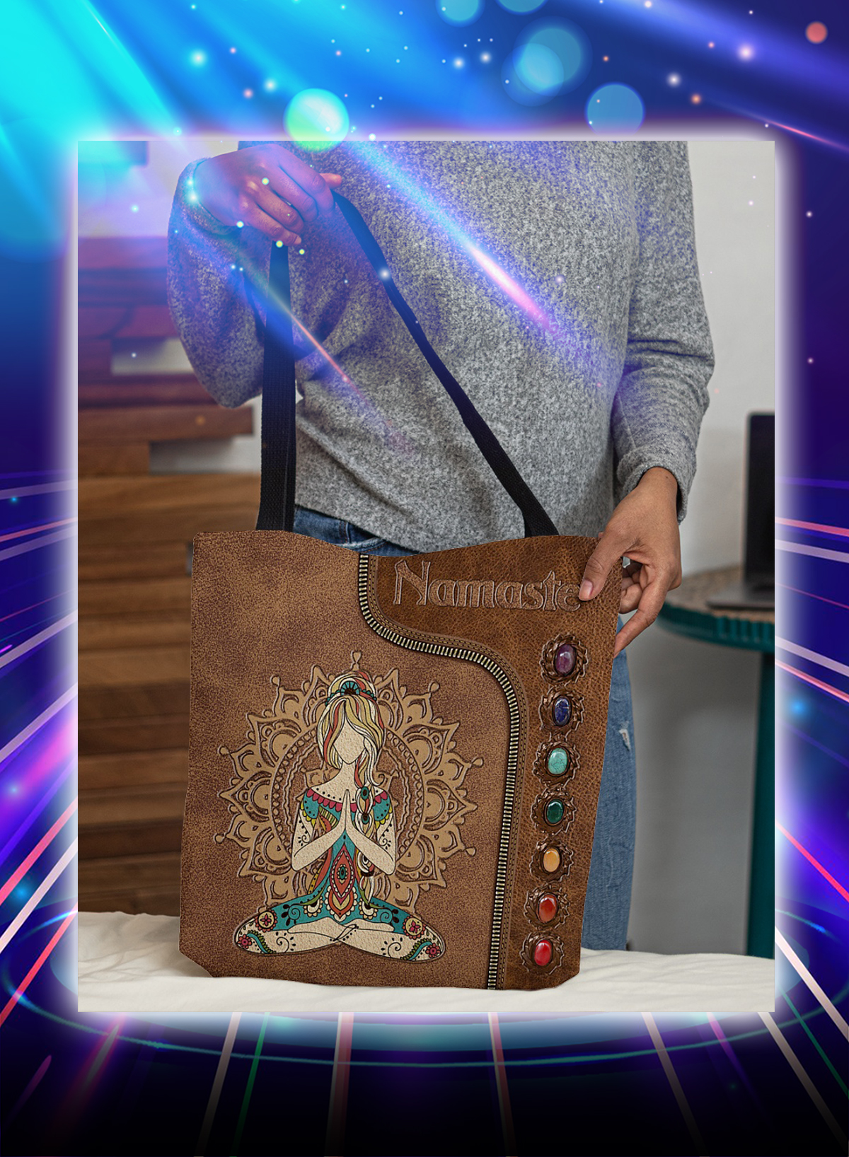 Yoga girl namaste tote bag
