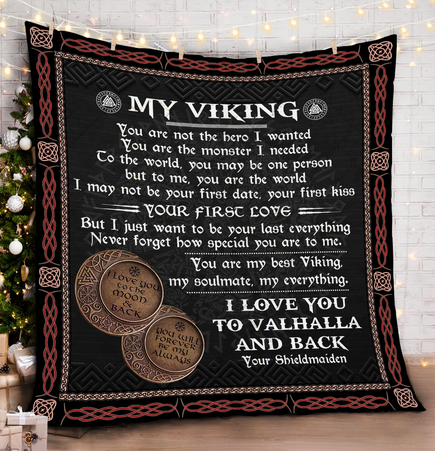 [special edition] to my viking i love you to valhalla and back all over printed blanket - maria