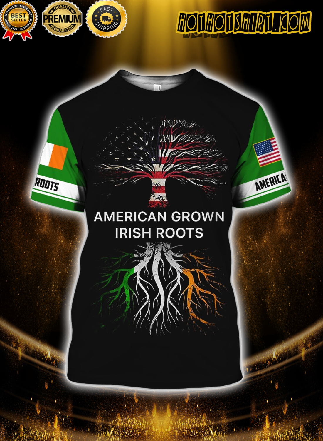 American grown irish roots 3d all over printed shirt