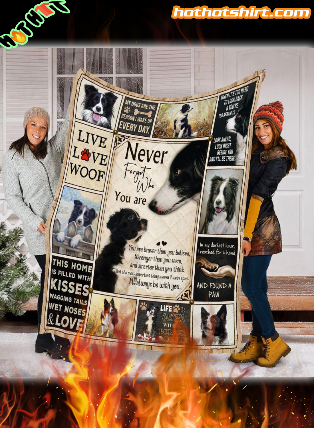 Border Collie never forget who you are quilt blanket