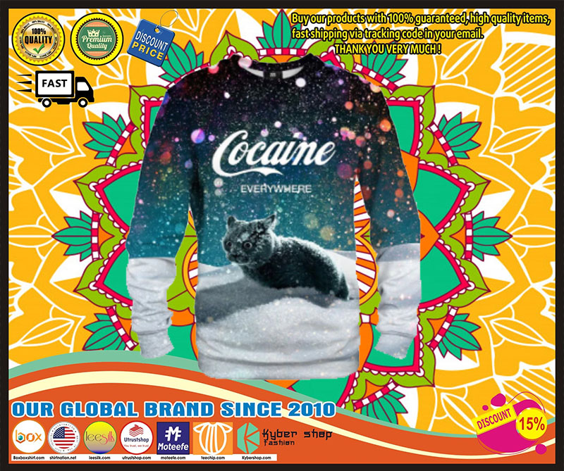 [LIMITED EDITION] Cat snow cocaine everywhere shirt