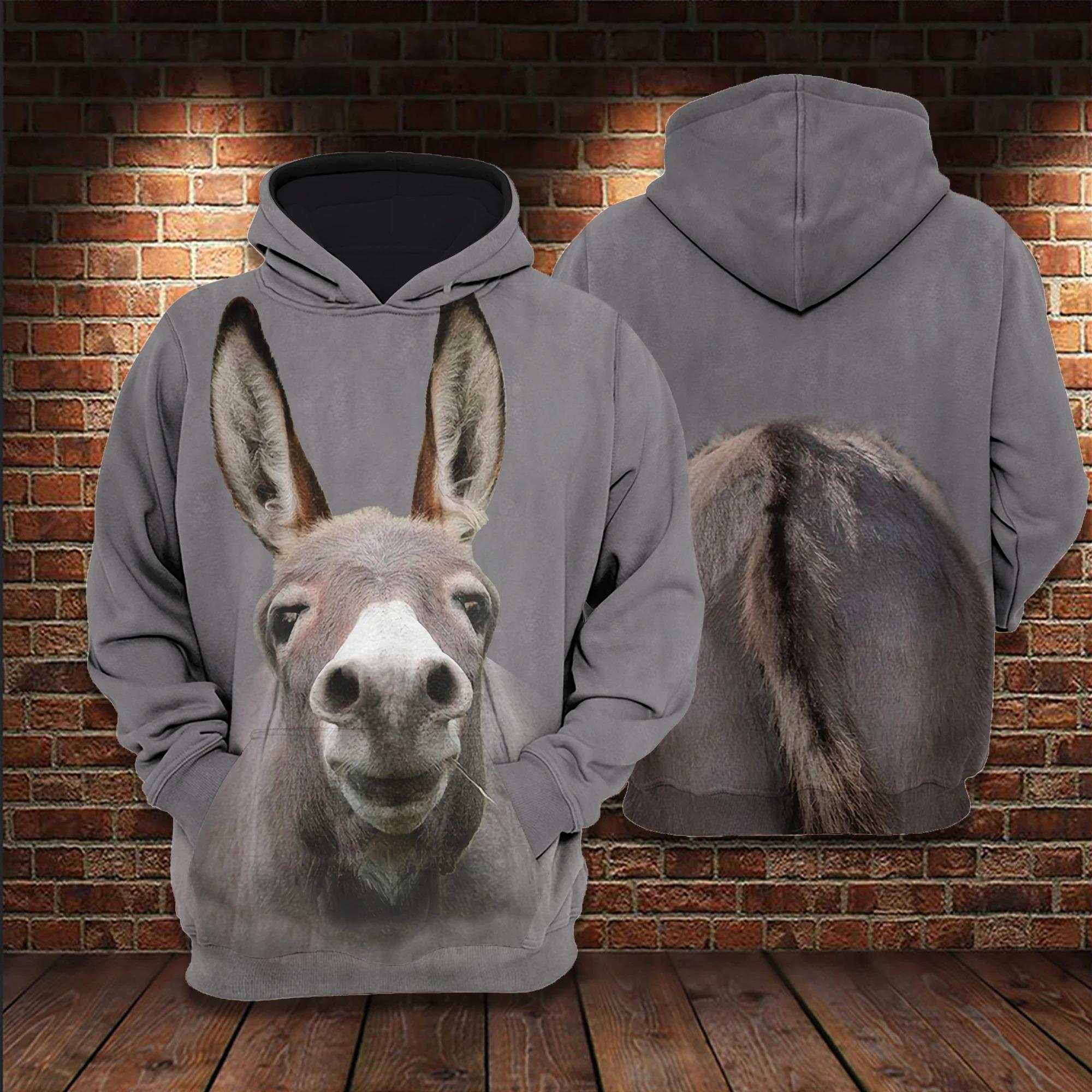 Cute donkey 3D hoodie