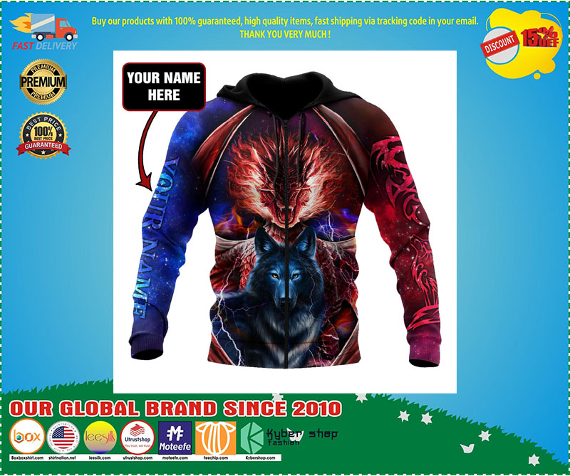[LIMITED EDITION] Dragon and wolf 3D custom name hoodie